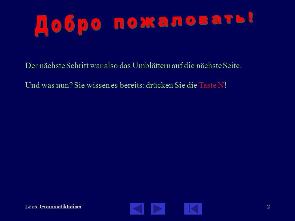 Loos: Grammatiktrainer2 Der nächste Schritt war also das Umblättern auf die nächste Seite. Und was nun? Sie wissen es bereits: drücken Sie die Taste N