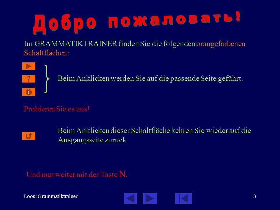 Loos: Grammatiktrainer3 Im GRAMMATIKTRAINER finden Sie die folgenden orangefarbenen Schaltflächen: Probieren Sie es aus! Beim Anklicken werden Sie auf