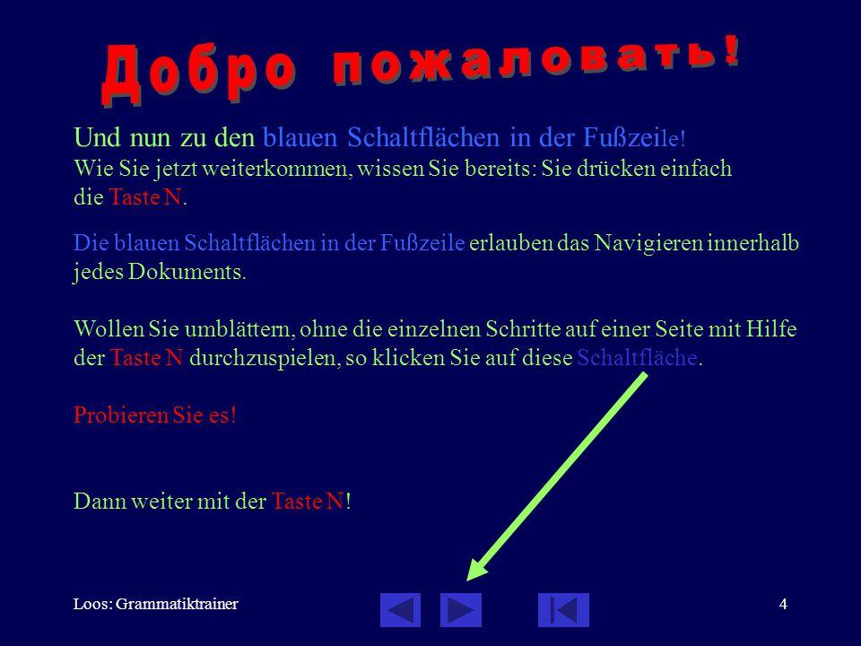 Loos: Grammatiktrainer4 Die blauen Schaltflächen in der Fußzeile erlauben das Navigieren innerhalb jedes Dokuments. Wollen Sie umblättern, ohne die ei