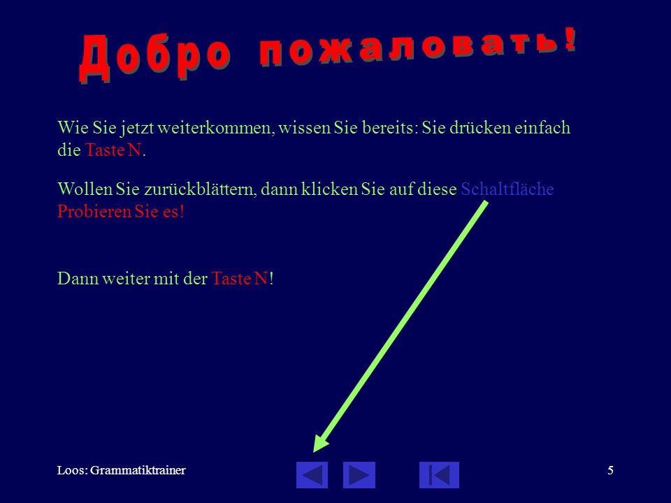 Loos: Grammatiktrainer5 Wollen Sie zurückblättern, dann klicken Sie auf diese Schaltfläche Probieren Sie es! Dann weiter mit der Taste N! Wie Sie jetz