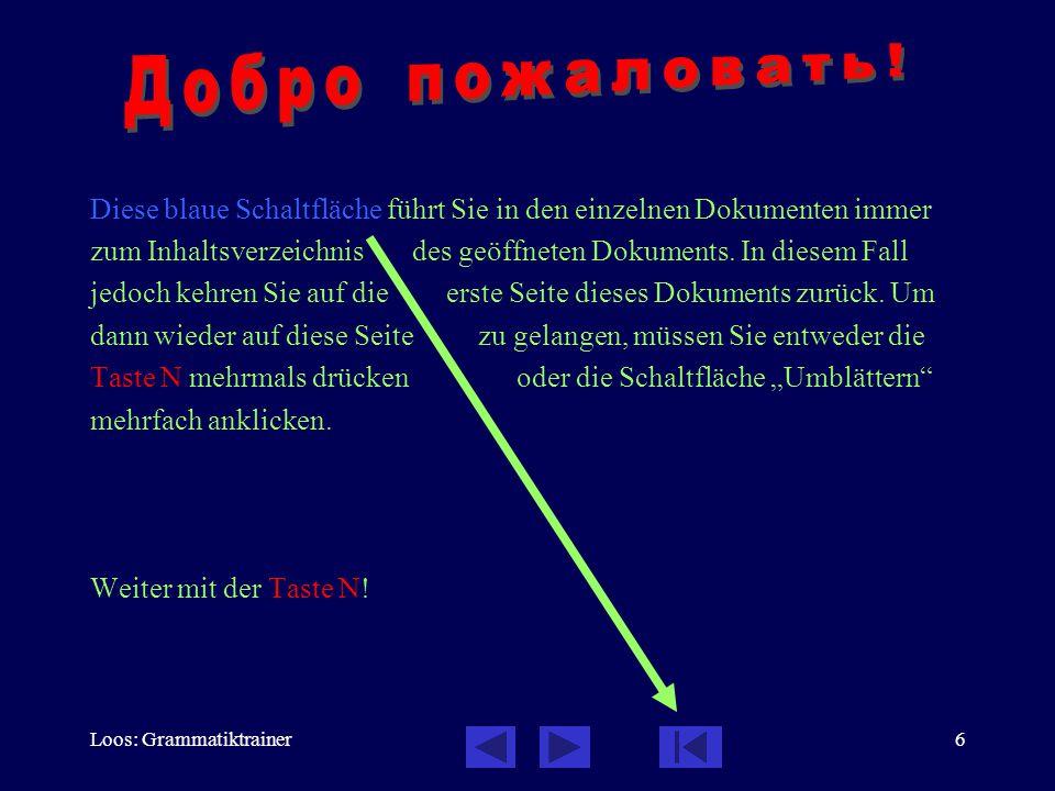 Loos: Grammatiktrainer6 Diese blaue Schaltfläche führt Sie in den einzelnen Dokumenten immer zum Inhaltsverzeichnis des geöffneten Dokuments. In diese