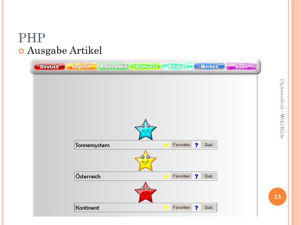 PHP Ausgabe Artikel 13 Diplomarbeit - Wiki4Kids