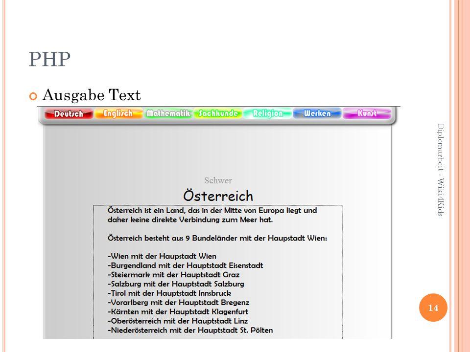 PHP Ausgabe Text 14 Diplomarbeit - Wiki4Kids