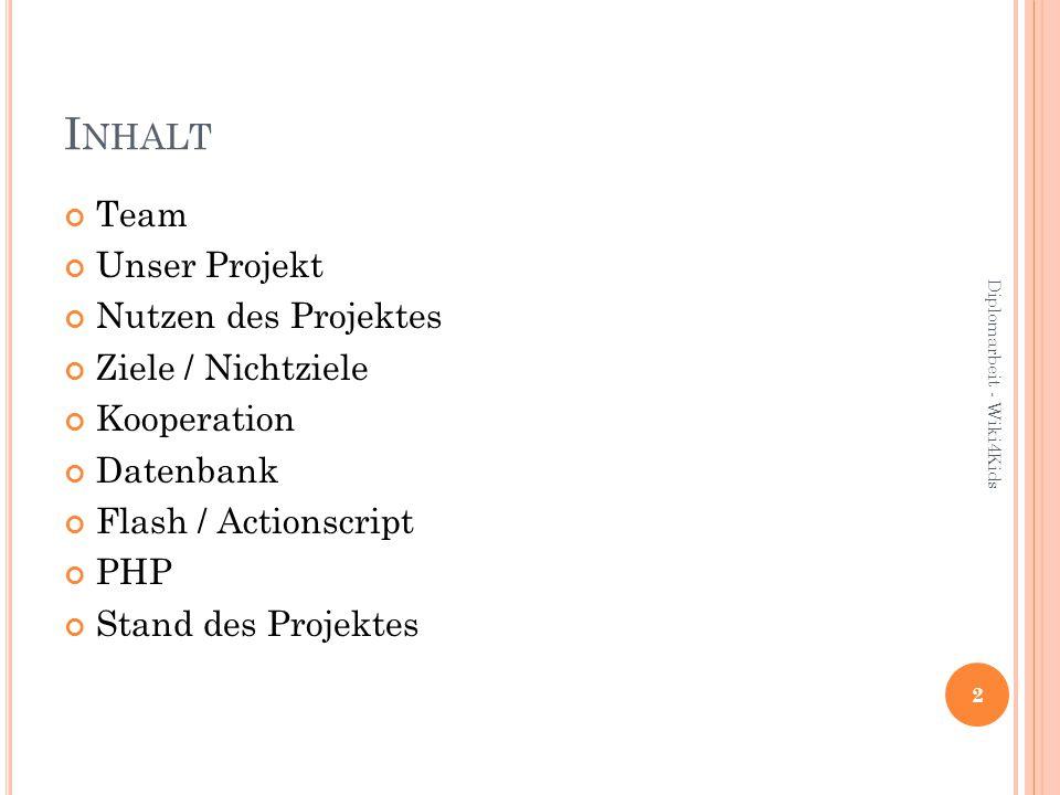 I NHALT Team Unser Projekt Nutzen des Projektes Ziele / Nichtziele Kooperation Datenbank Flash / Actionscript PHP Stand des Projektes 2 Diplomarbeit - Wiki4Kids