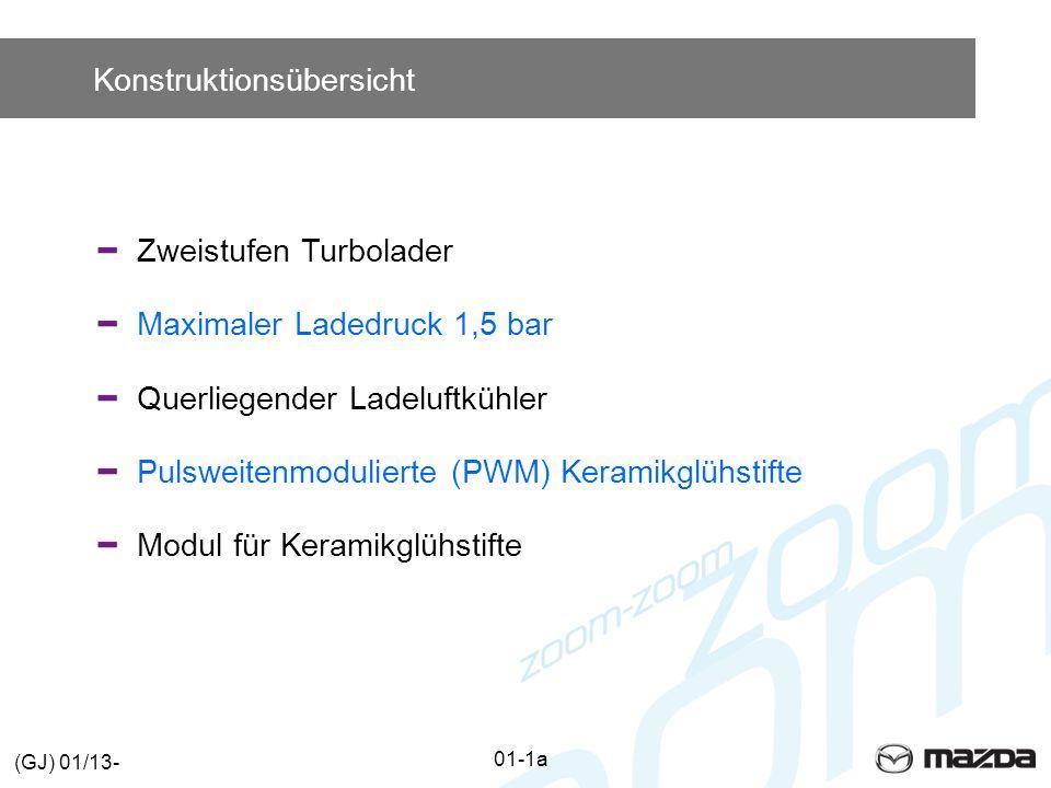 Konstruktionsübersicht Zweistufen Turbolader Maximaler Ladedruck 1,5 bar Querliegender Ladeluftkühler Pulsweitenmodulierte (PWM) Keramikglühstifte Modul für Keramikglühstifte 01-1a (GJ) 01/13-