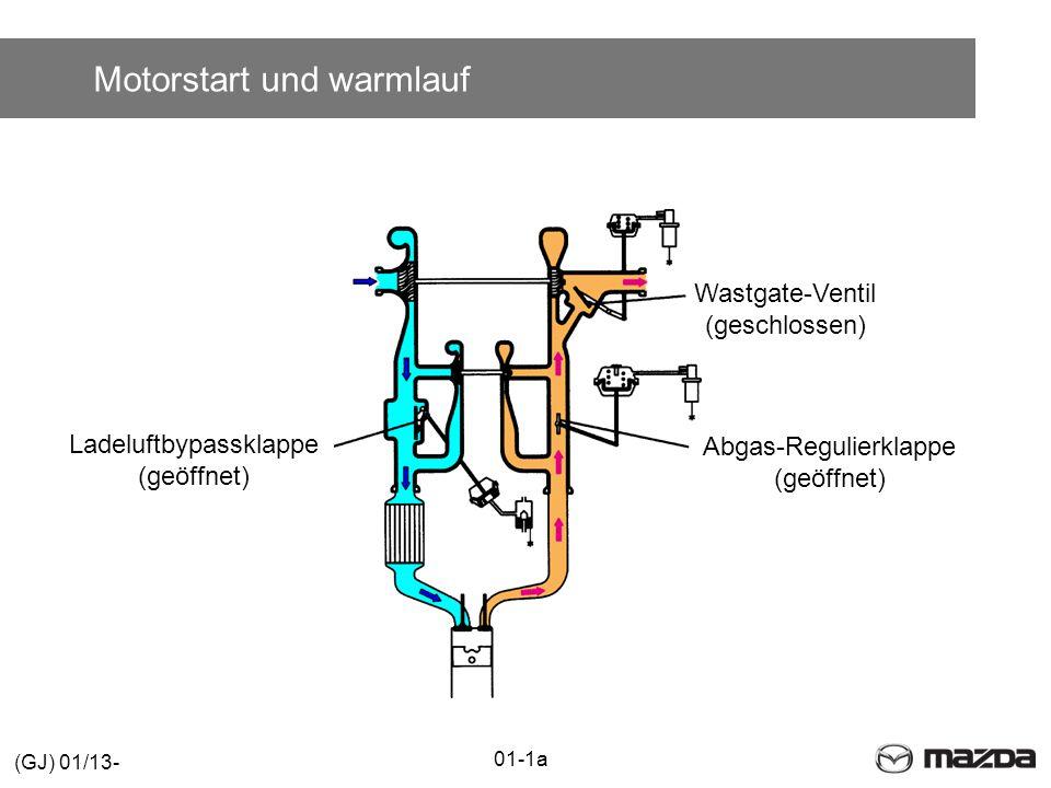 Motorstart und warmlauf Wastgate-Ventil (geschlossen) Abgas-Regulierklappe (geöffnet) Ladeluftbypassklappe (geöffnet) 01-1a (GJ) 01/13-
