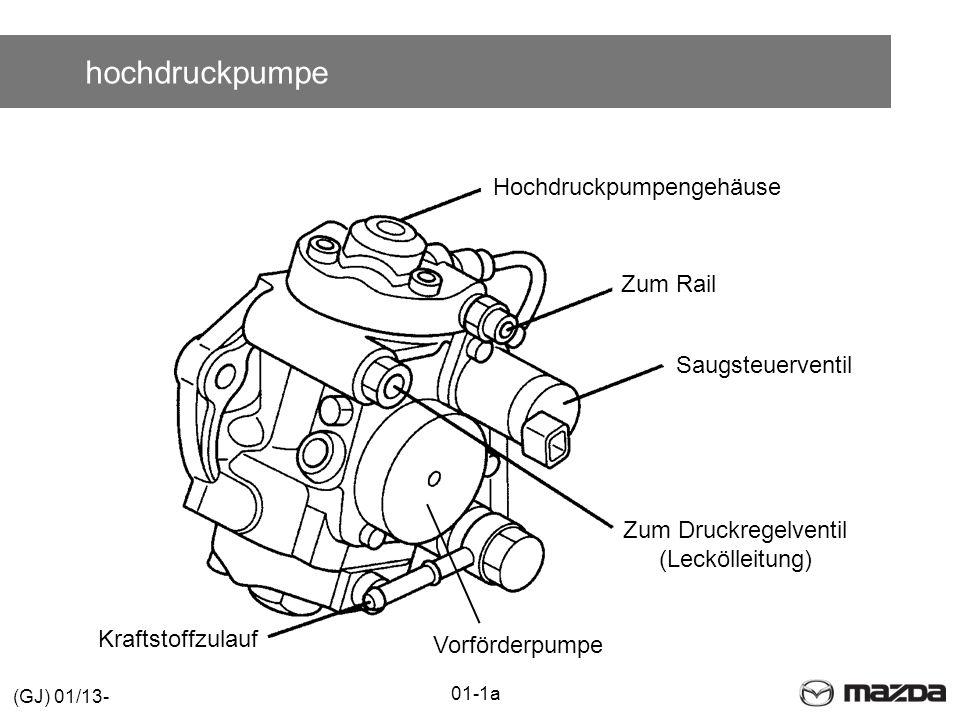 hochdruckpumpe Kraftstoffzulauf Zum Druckregelventil (Leckölleitung) Saugsteuerventil Zum Rail Hochdruckpumpengehäuse Vorförderpumpe 01-1a (GJ) 01/13-