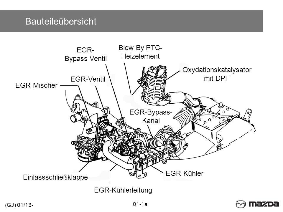 Bauteileübersicht EGR-Kühler Oxydationskatalysator mit DPF EGR-Kühlerleitung Einlassschließklappe EGR-Mischer EGR-Ventil EGR-Bypass- Kanal EGR- Bypass Ventil Blow By PTC- Heizelement (GJ) 01/13- 01-1a