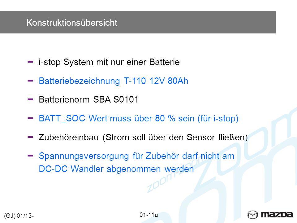 Konstruktionsübersicht i-stop System mit nur einer Batterie Batteriebezeichnung T-110 12V 80Ah Batterienorm SBA S0101 BATT_SOC Wert muss über 80 % sein (für i-stop) Zubehöreinbau (Strom soll über den Sensor fließen) Spannungsversorgung für Zubehör darf nicht am DC-DC Wandler abgenommen werden 01-11a (GJ) 01/13-