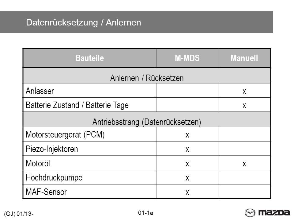 Datenrücksetzung / Anlernen BauteileM-MDSManuell Anlernen / Rücksetzen Anlasserx Batterie Zustand / Batterie Tagex Antriebsstrang (Datenrücksetzen) Motorsteuergerät (PCM)x Piezo-Injektorenx Motorölxx Hochdruckpumpex MAF-Sensorx 01-1a (GJ) 01/13-
