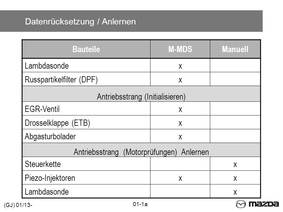 Datenrücksetzung / Anlernen BauteileM-MDSManuell Lambdasondex Russpartikelfilter (DPF)x Antriebsstrang (Initialisieren) EGR-Ventilx Drosselklappe (ETB)x Abgasturboladerx Antriebsstrang (Motorprüfungen) Anlernen Steuerkettex Piezo-Injektorenxx Lambdasondex 01-1a (GJ) 01/13-
