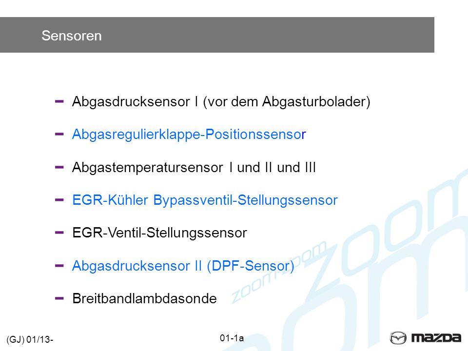 Sensoren Abgasdrucksensor I (vor dem Abgasturbolader) Abgasregulierklappe-Positionssensor Abgastemperatursensor I und II und III EGR-Kühler Bypassventil-Stellungssensor EGR-Ventil-Stellungssensor Abgasdrucksensor II (DPF-Sensor) Breitbandlambdasonde 01-1a (GJ) 01/13-