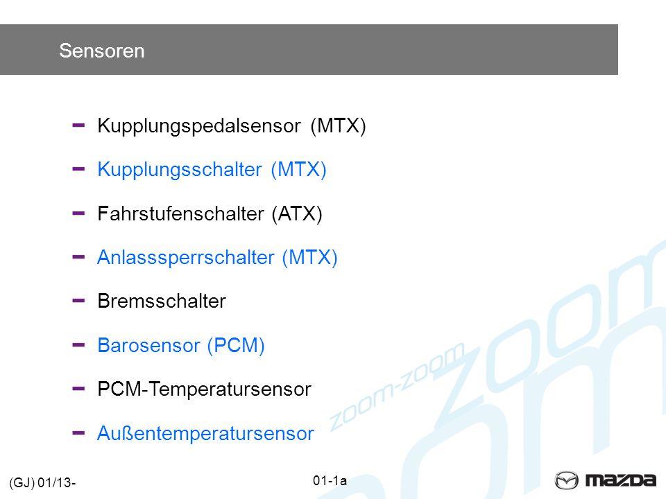Sensoren Kupplungspedalsensor (MTX) Kupplungsschalter (MTX) Fahrstufenschalter (ATX) Anlasssperrschalter (MTX) Bremsschalter Barosensor (PCM) PCM-TemperatursensorAußentemperatursensor 01-1a (GJ) 01/13-