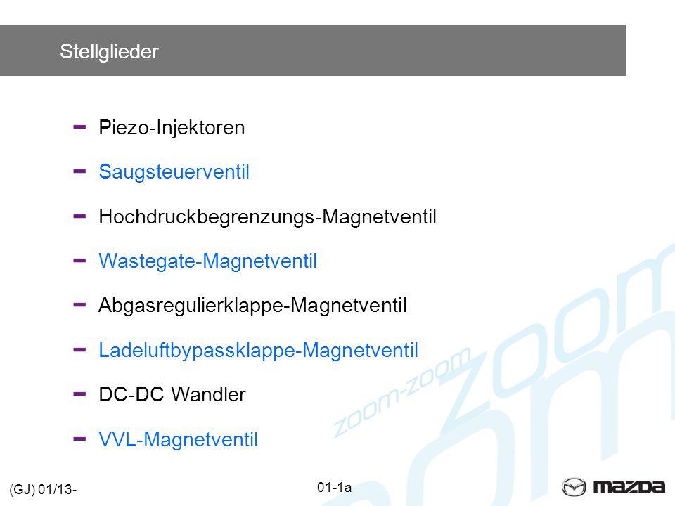 Stellglieder Piezo-InjektorenSaugsteuerventilHochdruckbegrenzungs-MagnetventilWastegate-MagnetventilAbgasregulierklappe-MagnetventilLadeluftbypassklappe-Magnetventil DC-DC Wandler VVL-Magnetventil 01-1a (GJ) 01/13-
