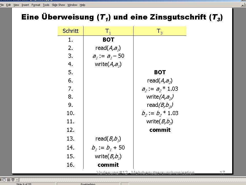 WS 2013/14 Datenbanksysteme Do 17:00 – 18:30 R 1.207 © Bojan Milijaš, 12.12.201317Vorlesung #12 - Mehrbenutzersynchronisation