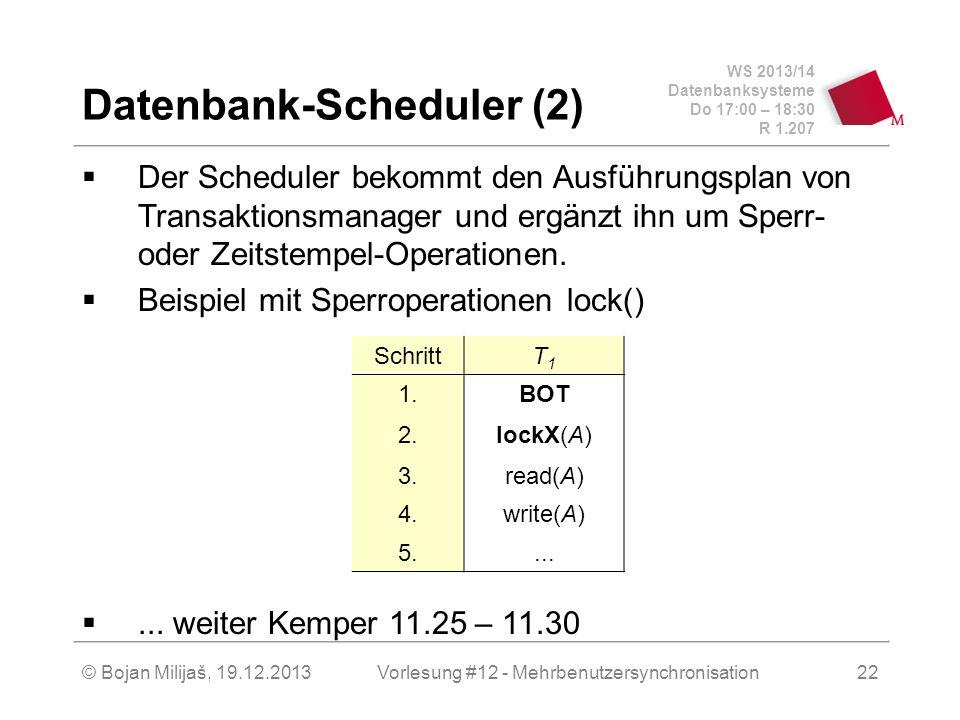 """WS 2013/14 Datenbanksysteme Do 17:00 – 18:30 R 1.207 © Bojan Milijaš, 19.12.2013 Sperrbasierte Synchronisation  Hier Zusammenfassung (Details Kemper 11.25 – 11.30)  2 Sperrmodi  S – """"Shared , Lesen, Read  X – Exclusive, Schreiben, Write  Operationen: lockS(), unlockS(), lockX(), unlockX()  2 Phasen Sperrprotokoll – 2 phase locking (2PL)  Wachstumsphase (Anforderung der Sperren)  Schrumpfungsphase (Freigabe der Sperren)  2PL erlaubt kaskadierendes Rollback  strenges 2PL - keine Schrumpfungsphase, alle Sperren werden auf einmal freigegeben 23Vorlesung #12 - Mehrbenutzersynchronisation"""