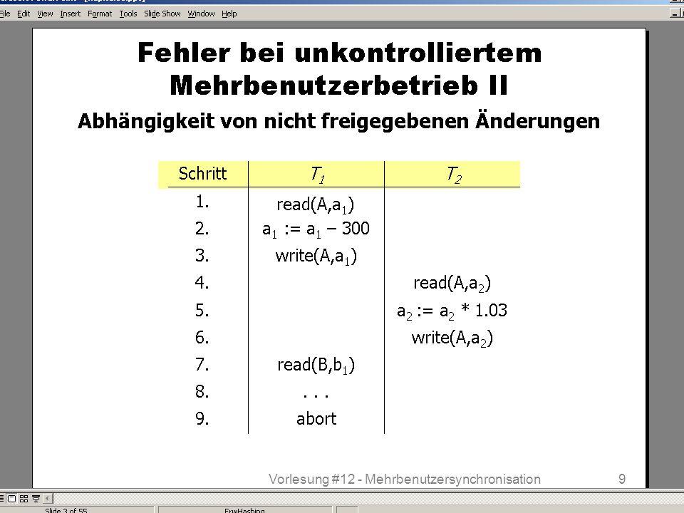 WS 2013/14 Datenbanksysteme Do 17:00 – 18:30 R 1.207 © Bojan Milijaš, 12.12.20139Vorlesung #12 - Mehrbenutzersynchronisation