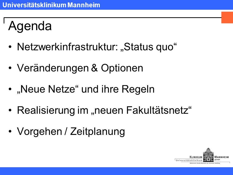 """Universitätsklinikum Mannheim Agenda Netzwerkinfrastruktur: """"Status quo Veränderungen & Optionen """"Neue Netze und ihre Regeln Realisierung im """"neuen Fakultätsnetz Vorgehen / Zeitplanung"""