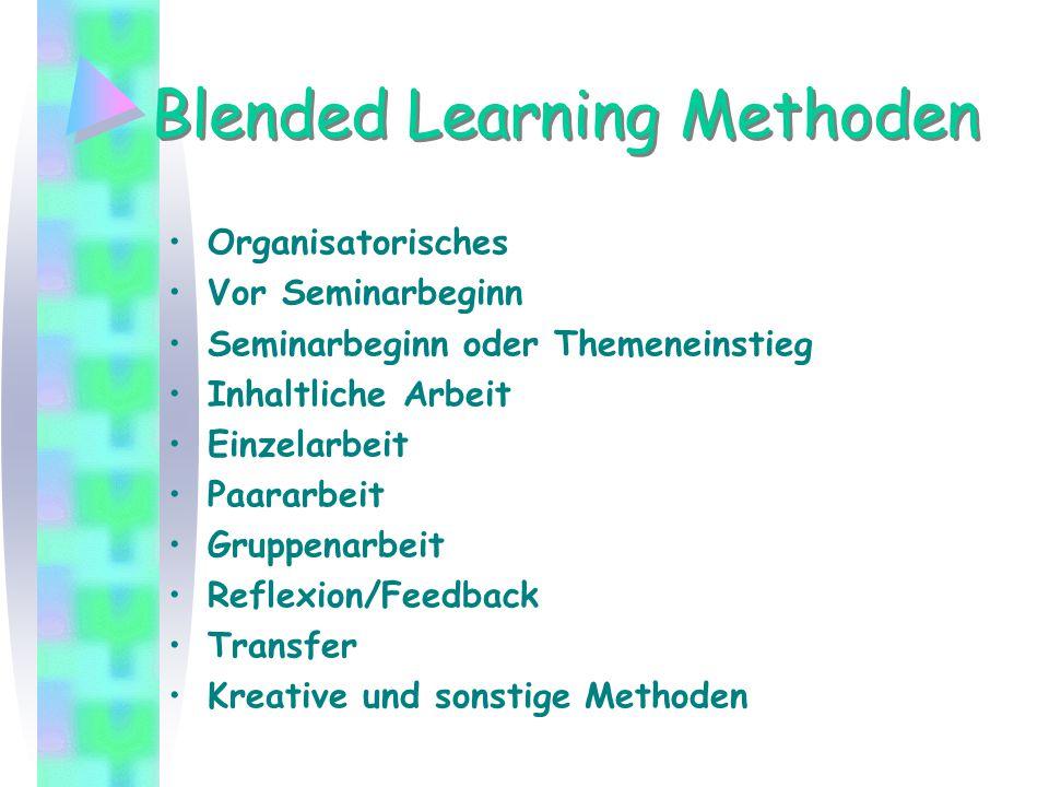 Blended Learning Methoden Organisatorisches Vor Seminarbeginn Seminarbeginn oder Themeneinstieg Inhaltliche Arbeit Einzelarbeit Paararbeit Gruppenarbe