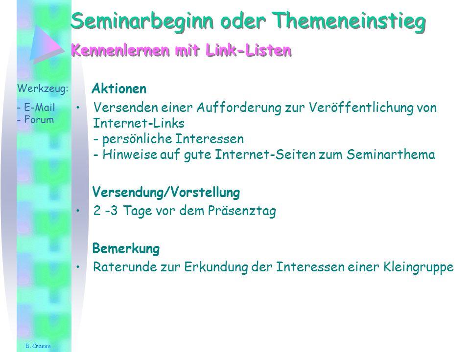 Seminarbeginn oder Themeneinstieg Aktionen Versenden einer Aufforderung zur Veröffentlichung von Internet-Links - persönliche Interessen - Hinweise au