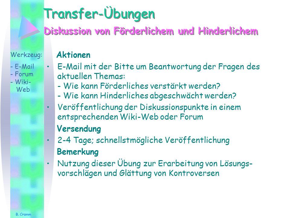 Transfer-Übungen Aktionen E-Mail mit der Bitte um Beantwortung der Fragen des aktuellen Themas: - Wie kann Förderliches verstärkt werden? - Wie kann H
