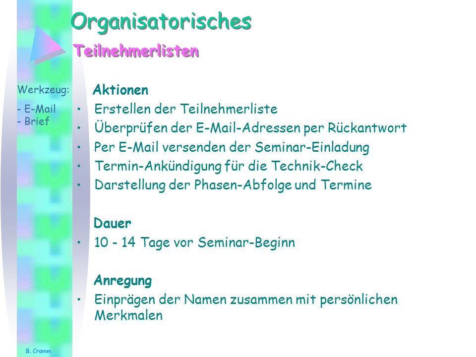 Einzelarbeit Übungstitel Werkzeug:- Aktionen Versendung/Vorstellung Bemerkung B. Cramm