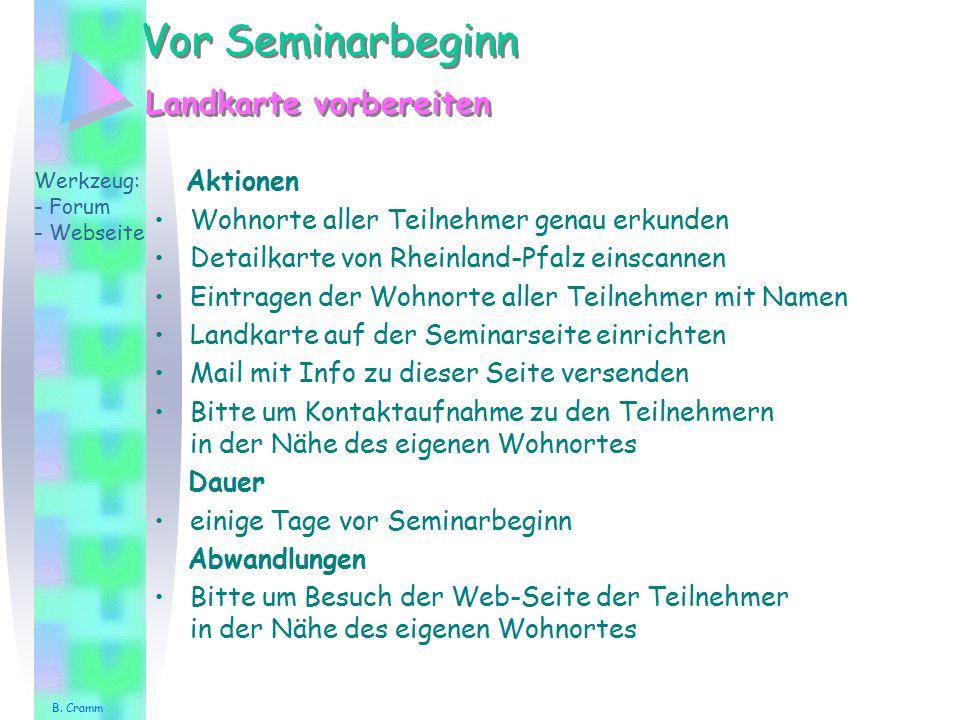 Vor Seminarbeginn Aktionen Wohnorte aller Teilnehmer genau erkunden Detailkarte von Rheinland-Pfalz einscannen Eintragen der Wohnorte aller Teilnehmer