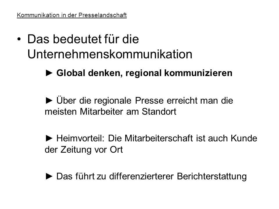 Kommunikation in der Presselandschaft Strukturen/Reichweiten Print ► 334 lokale oder regionale Tageszeitungen (2006), davon118 mit Vollredaktion (publ