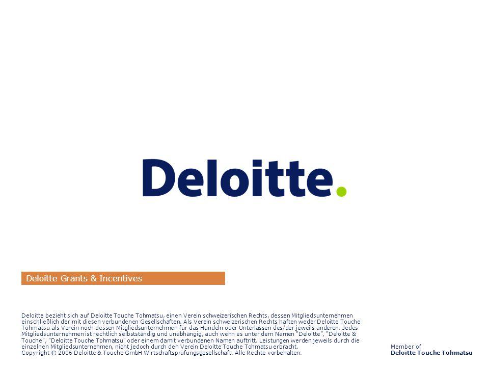 ©2006 Deloitte & Touche GmbH Wirtschaftsprüfungsgesellschaft Externe Unterstützung bei der Konsortialbildung und der Antragstellung10 Member of Deloitte Touche Tohmatsu Deloitte bezieht sich auf Deloitte Touche Tohmatsu, einen Verein schweizerischen Rechts, dessen Mitgliedsunternehmen einschließlich der mit diesen verbundenen Gesellschaften.