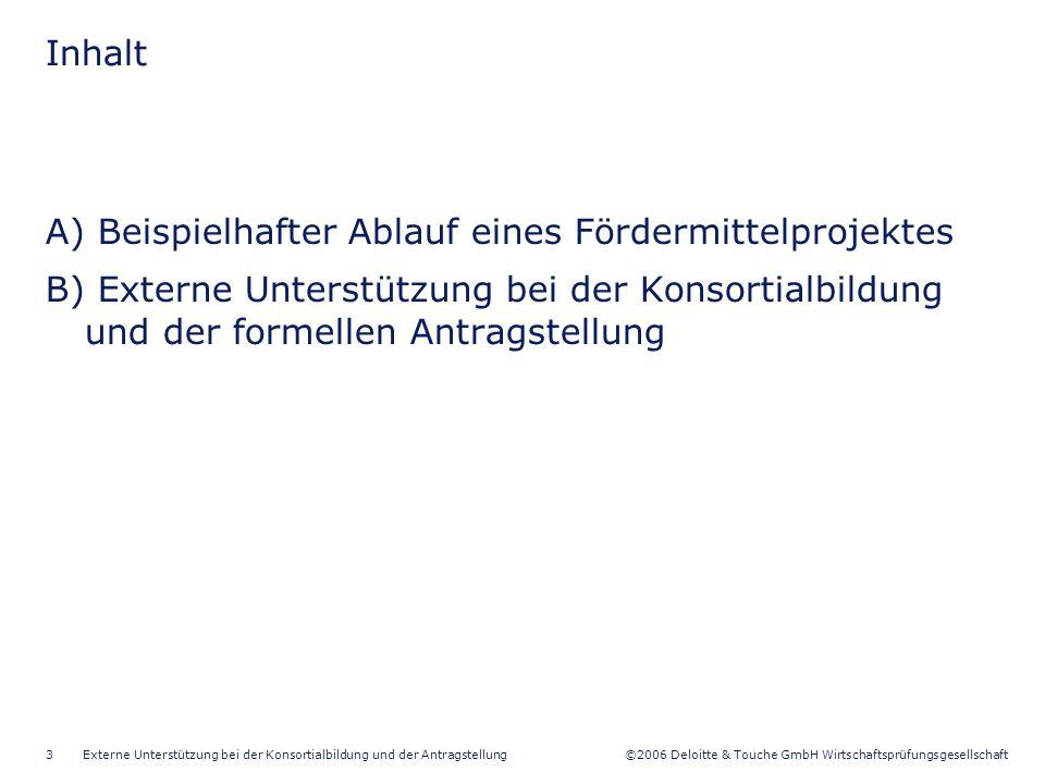 ©2006 Deloitte & Touche GmbH Wirtschaftsprüfungsgesellschaft Externe Unterstützung bei der Konsortialbildung und der Antragstellung3 A) Beispielhafter Ablauf eines Fördermittelprojektes B) Externe Unterstützung bei der Konsortialbildung und der formellen Antragstellung Inhalt