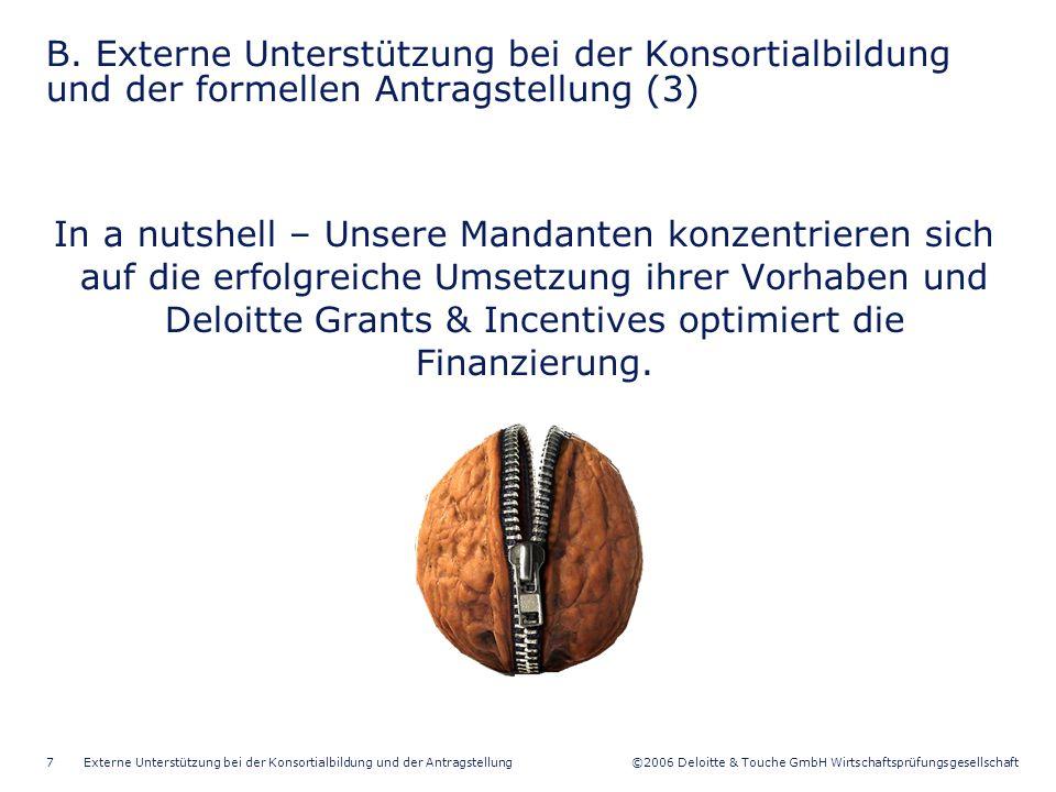 ©2006 Deloitte & Touche GmbH Wirtschaftsprüfungsgesellschaft Externe Unterstützung bei der Konsortialbildung und der Antragstellung7 B.