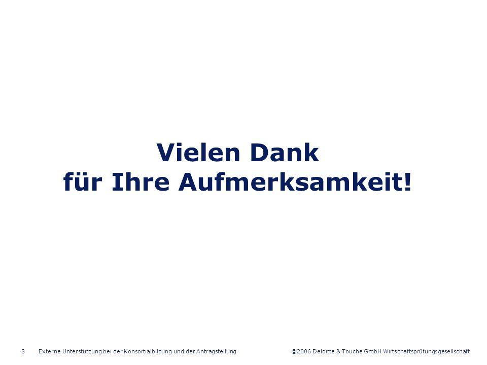 ©2006 Deloitte & Touche GmbH Wirtschaftsprüfungsgesellschaft Externe Unterstützung bei der Konsortialbildung und der Antragstellung9 Kontakt – Zentrale Hamburg Nicolas Vértes Tax Partner Tel +49 40 32080-4510 Fax +49 40 32080-4705 Mobil +49 173 5606883 nivertes@deloitte.de Iwona Hamulecka Consultant Grants & Incentives Tel +49 40 32080-4659 Fax +49 40 32080-4705 Mobil +49 177 3770021 ihamulecka@deloitte.de Kerstin Dreizner Professional Grants & Incentives Tel +49 40 32080-4513 Fax +49 40 32080-4705 kdreizner@deloitte.de Frank Burkert Director Grants & Incentives Tel +49 40 32080-4611 Fax +49 40 32080-4705 Mobil +49 177 3770022 fburkert@deloitte.de Deloitte & Touche GmbH, Hanse-Forum, Axel-Springer-Platz 3, 20355 Hamburg, Deutschland www.deloitte.com/de Felix Skala Rechtsanwalt Raupach & Wollert-Elmendorff Tel +49 40 378538-0 Fax +49 40 378538-11 fskala@raupach-we.de Jessica Beckmann Sekretariat Tel +49 40 32080-4595 Fax +49 40 32080-4705 jbeckmann@deloitte.de