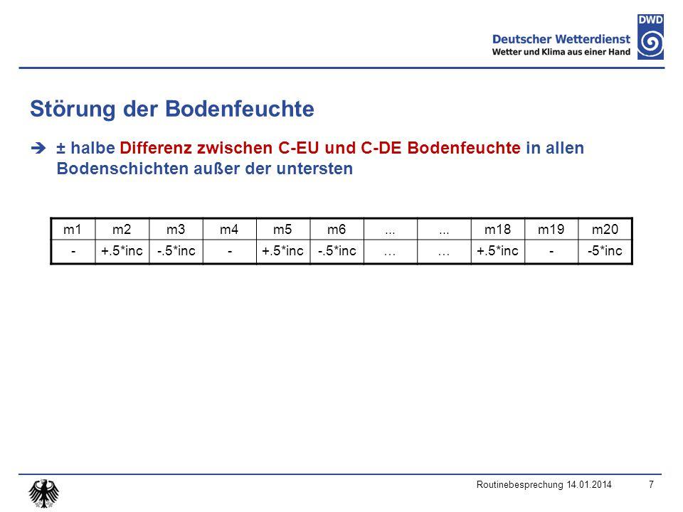 Störung der Bodenfeuchte  ± halbe Differenz zwischen C-EU und C-DE Bodenfeuchte in allen Bodenschichten außer der untersten Routinebesprechung 14.01.20147 m1m2m3m4m5m6...