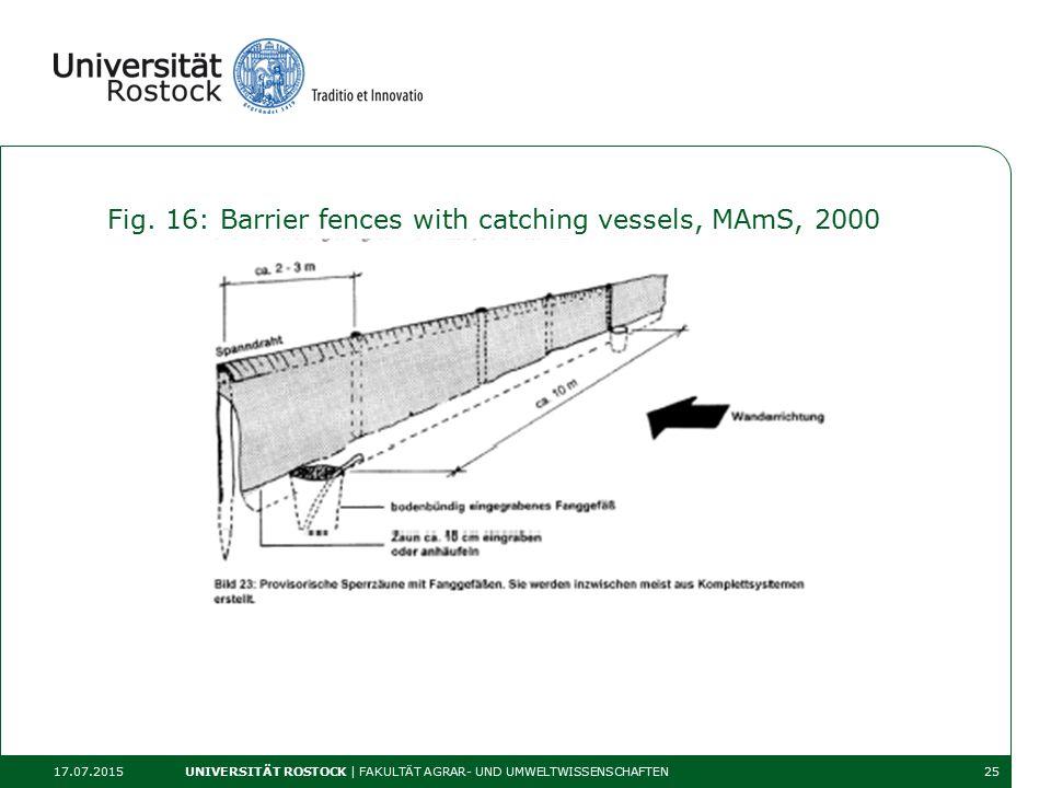 Fig. 16: Barrier fences with catching vessels, MAmS, 2000 17.07.2015 UNIVERSITÄT ROSTOCK | FAKULTÄT AGRAR- UND UMWELTWISSENSCHAFTEN25