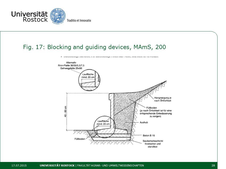 Fig. 17: Blocking and guiding devices, MAmS, 200 17.07.2015 UNIVERSITÄT ROSTOCK | FAKULTÄT AGRAR- UND UMWELTWISSENSCHAFTEN28