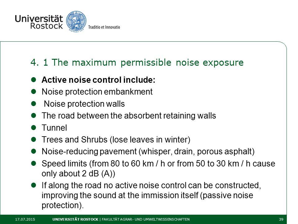 4. 1 The maximum permissible noise exposure Active noise control include: Noise protection embankment Noise protection walls The road between the abso