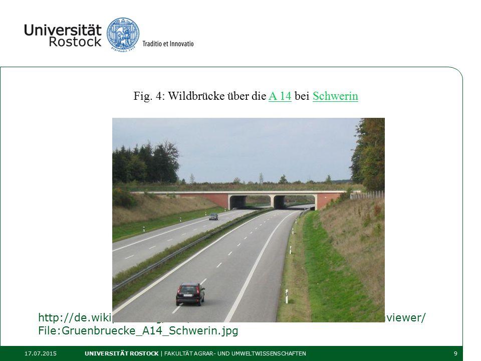 http://de.wikipedia.org/wiki/Gr%C3%BCnbr%C3%BCcke#mediaviewer/ File:Gruenbruecke_A14_Schwerin.jpg 17.07.2015 UNIVERSITÄT ROSTOCK | FAKULTÄT AGRAR- UND UMWELTWISSENSCHAFTEN9 Fig.