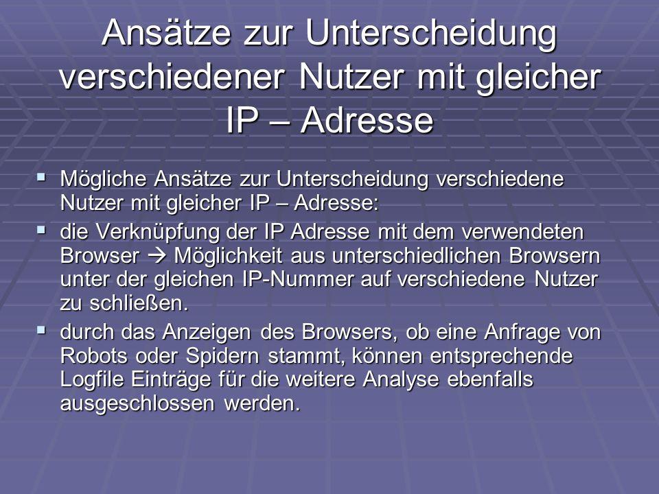 Ansätze zur Unterscheidung verschiedener Nutzer mit gleicher IP – Adresse  Mögliche Ansätze zur Unterscheidung verschiedene Nutzer mit gleicher IP –