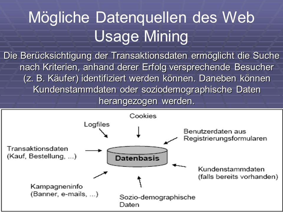 Mögliche Datenquellen des Web Usage Mining Die Berücksichtigung der Transaktionsdaten ermöglicht die Suche nach Kriterien, anhand derer Erfolg verspre
