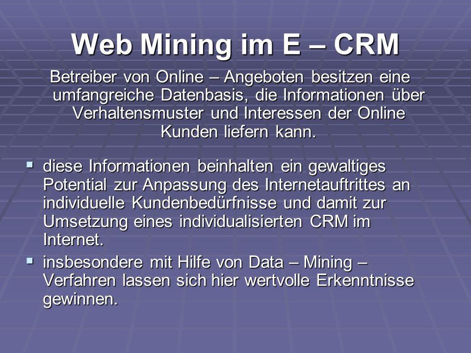 Web Mining im E – CRM Betreiber von Online – Angeboten besitzen eine umfangreiche Datenbasis, die Informationen über Verhaltensmuster und Interessen d