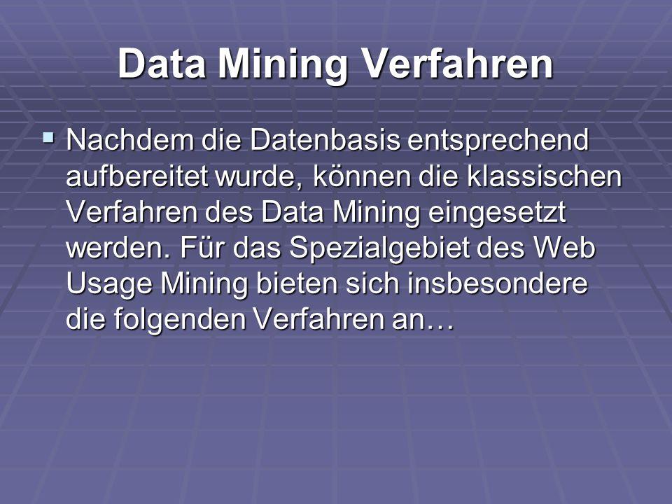 Data Mining Verfahren  Nachdem die Datenbasis entsprechend aufbereitet wurde, können die klassischen Verfahren des Data Mining eingesetzt werden. Für