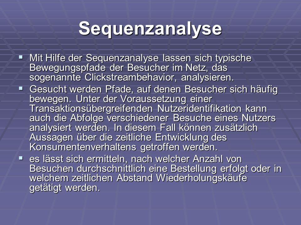 Sequenzanalyse  Mit Hilfe der Sequenzanalyse lassen sich typische Bewegungspfade der Besucher im Netz, das sogenannte Clickstreambehavior, analysiere