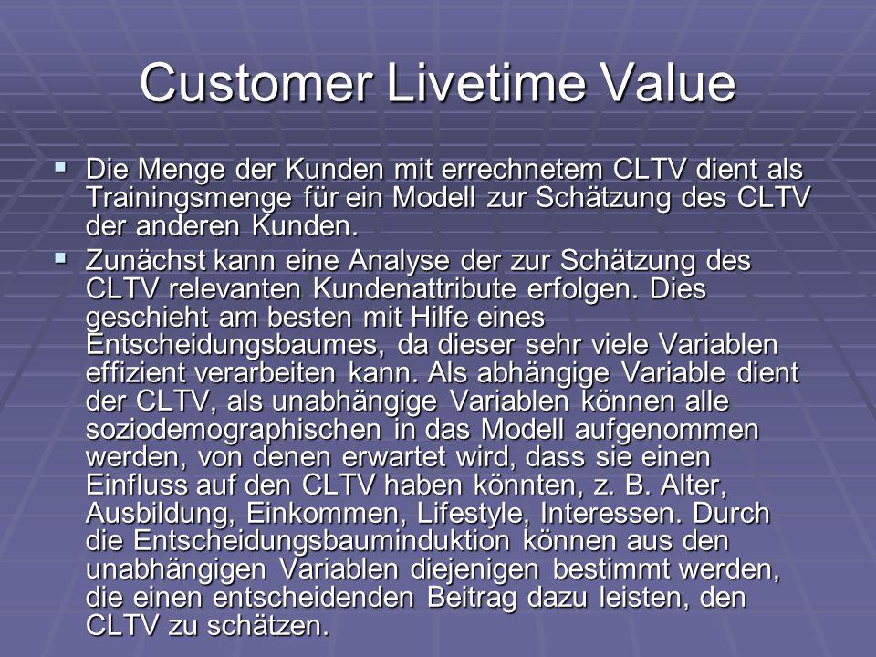 Customer Livetime Value  Die Menge der Kunden mit errechnetem CLTV dient als Trainingsmenge für ein Modell zur Schätzung des CLTV der anderen Kunden.