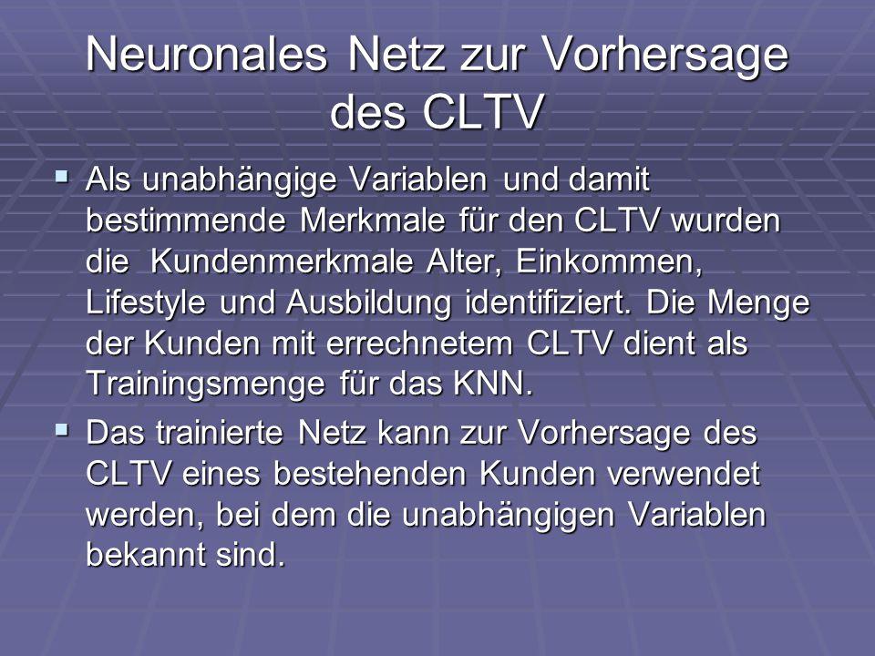 Neuronales Netz zur Vorhersage des CLTV  Als unabhängige Variablen und damit bestimmende Merkmale für den CLTV wurden die Kundenmerkmale Alter, Einko