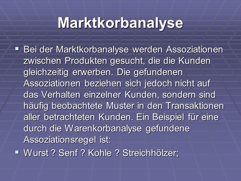 Marktkorbanalyse  Bei der Marktkorbanalyse werden Assoziationen zwischen Produkten gesucht, die die Kunden gleichzeitig erwerben. Die gefundenen Asso