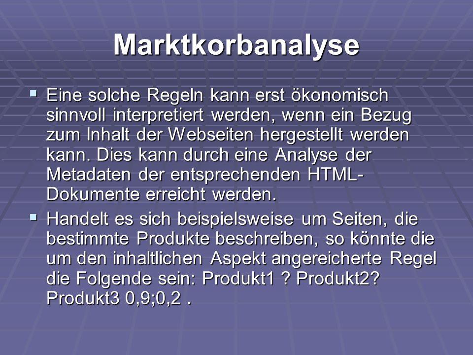 Marktkorbanalyse  Eine solche Regeln kann erst ökonomisch sinnvoll interpretiert werden, wenn ein Bezug zum Inhalt der Webseiten hergestellt werden k