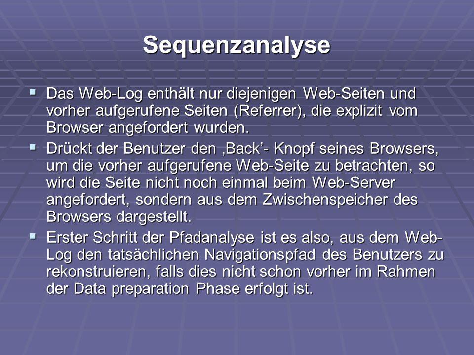 Sequenzanalyse  Das Web-Log enthält nur diejenigen Web-Seiten und vorher aufgerufene Seiten (Referrer), die explizit vom Browser angefordert wurden.