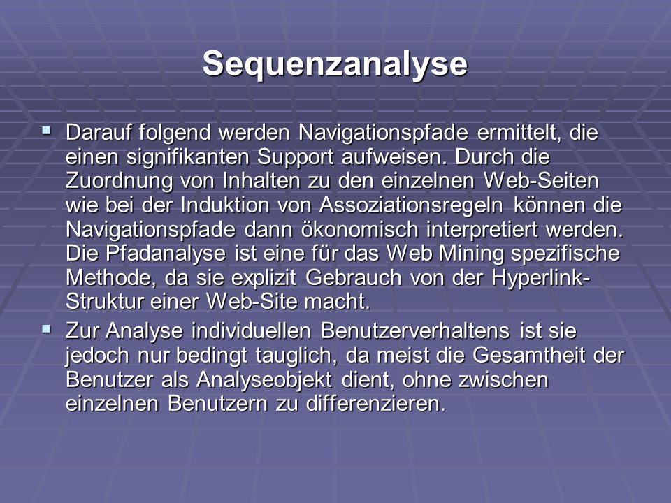 Sequenzanalyse  Darauf folgend werden Navigationspfade ermittelt, die einen signifikanten Support aufweisen. Durch die Zuordnung von Inhalten zu den