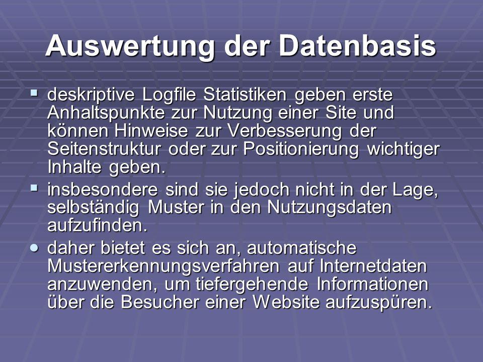 Auswertung der Datenbasis  deskriptive Logfile Statistiken geben erste Anhaltspunkte zur Nutzung einer Site und können Hinweise zur Verbesserung der