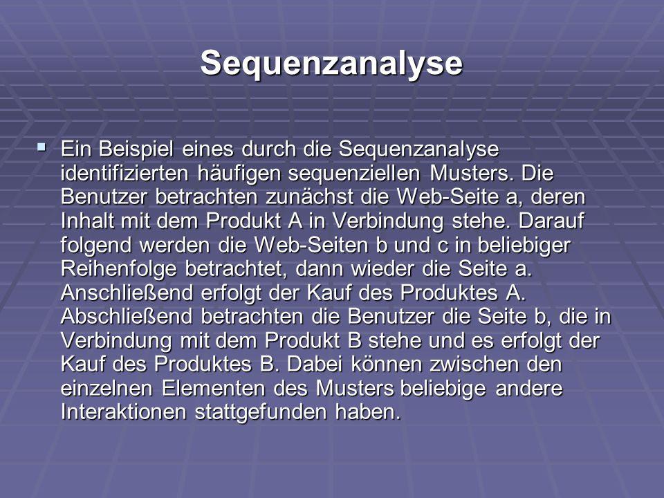 Sequenzanalyse  Ein Beispiel eines durch die Sequenzanalyse identifizierten häufigen sequenziellen Musters. Die Benutzer betrachten zunächst die Web-